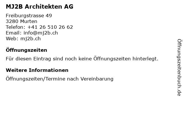 MJ2B Architekten AG in Murten: Adresse und Öffnungszeiten