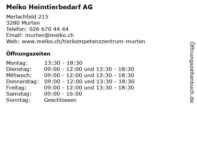Meiko Heimtierbedarf AG in Murten: Adresse und Öffnungszeiten