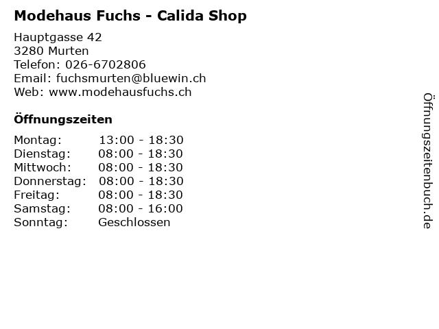 Modehaus Fuchs - Calida Shop in Murten: Adresse und Öffnungszeiten