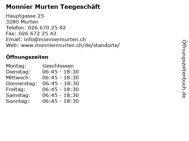 Monnier Murten Teegeschäft in Murten: Adresse und Öffnungszeiten