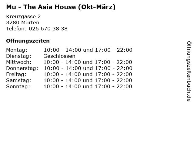 Mu - The Asia House (Okt-März) in Murten: Adresse und Öffnungszeiten