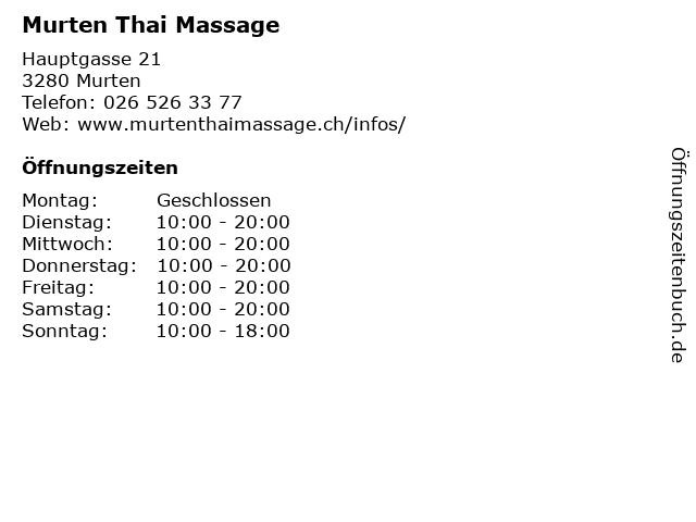 Murten Thai Massage in Murten: Adresse und Öffnungszeiten