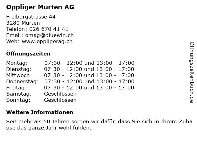 Oppliger Murten AG in Murten: Adresse und Öffnungszeiten