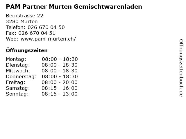PAM Partner Murten Gemischtwarenladen in Murten: Adresse und Öffnungszeiten