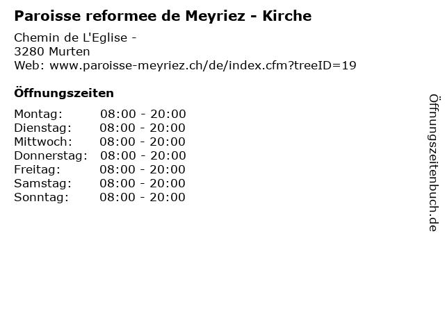 Paroisse reformee de Meyriez - Kirche in Murten: Adresse und Öffnungszeiten