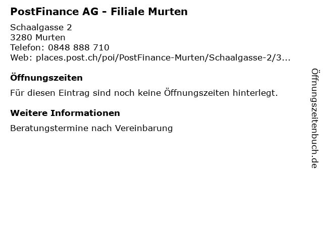 PostFinance AG - Filiale Murten in Murten: Adresse und Öffnungszeiten