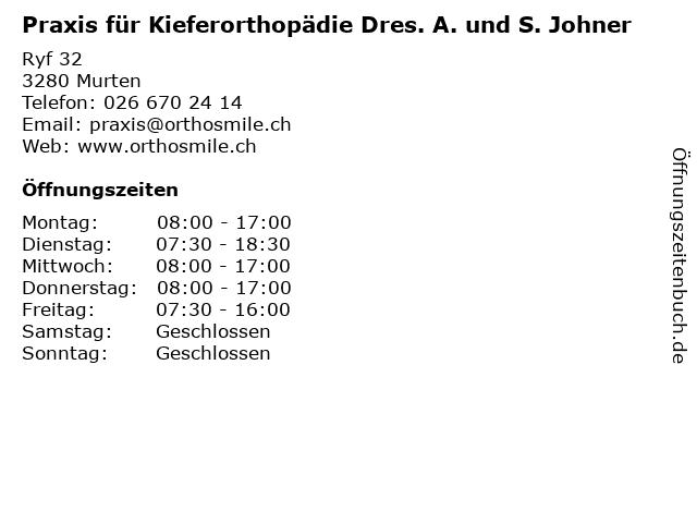 Praxis für Kieferorthopädie Dres. A. und S. Johner in Murten: Adresse und Öffnungszeiten