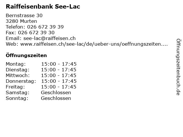 Raiffeisenbank See-Lac in Murten: Adresse und Öffnungszeiten