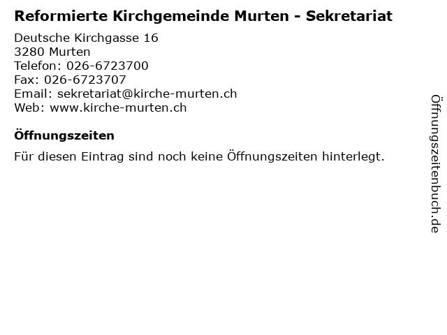 Reformierte Kirchgemeinde Murten - Sekretariat in Murten: Adresse und Öffnungszeiten