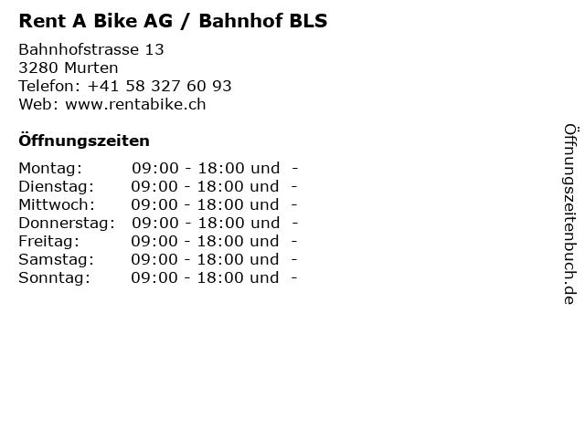 Rent A Bike AG / Bahnhof BLS in Murten: Adresse und Öffnungszeiten