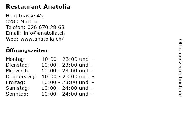 Restaurant Anatolia in Murten: Adresse und Öffnungszeiten