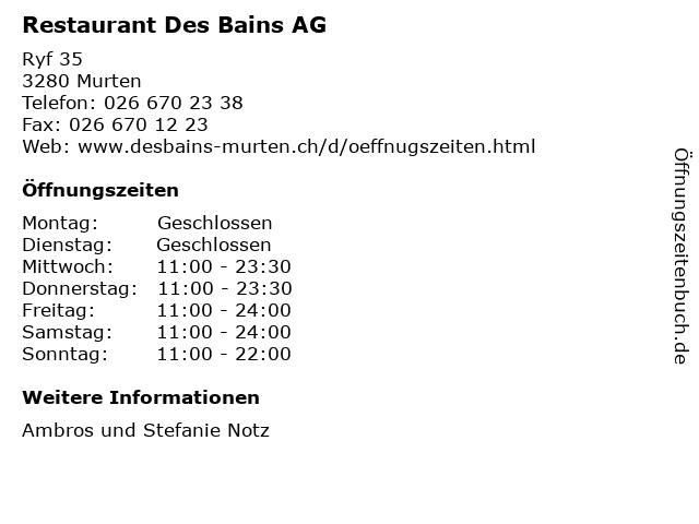 Restaurant Des Bains AG in Murten: Adresse und Öffnungszeiten