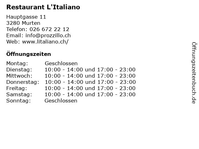 Restaurant L'Italiano in Murten: Adresse und Öffnungszeiten