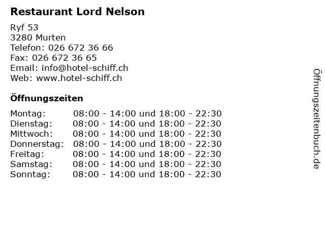 Restaurant Lord Nelson in Murten: Adresse und Öffnungszeiten
