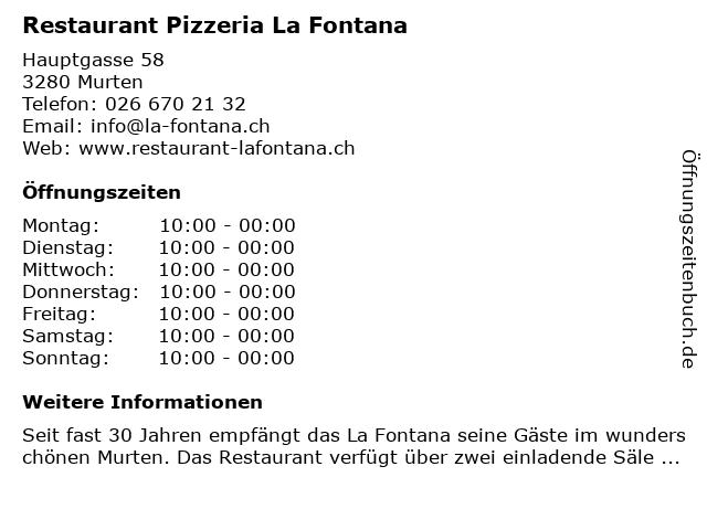 Restaurant Pizzeria La Fontana in Murten: Adresse und Öffnungszeiten