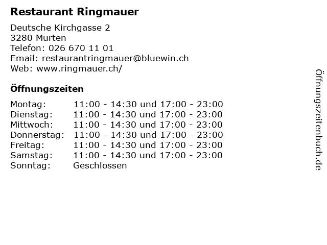 Restaurant Ringmauer in Murten: Adresse und Öffnungszeiten