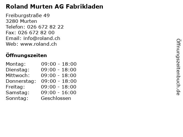Roland Murten AG Fabrikladen in Murten: Adresse und Öffnungszeiten