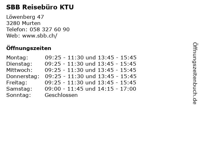 SBB Reisebüro KTU in Murten: Adresse und Öffnungszeiten