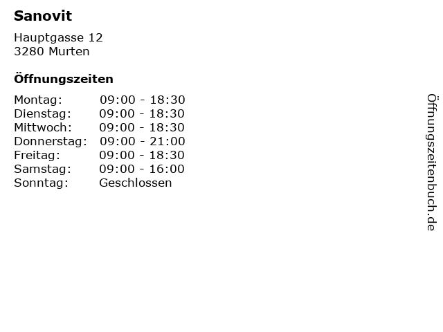 Sanovit in Murten: Adresse und Öffnungszeiten