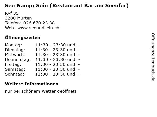 See & Sein (Restaurant Bar am Seeufer) in Murten: Adresse und Öffnungszeiten
