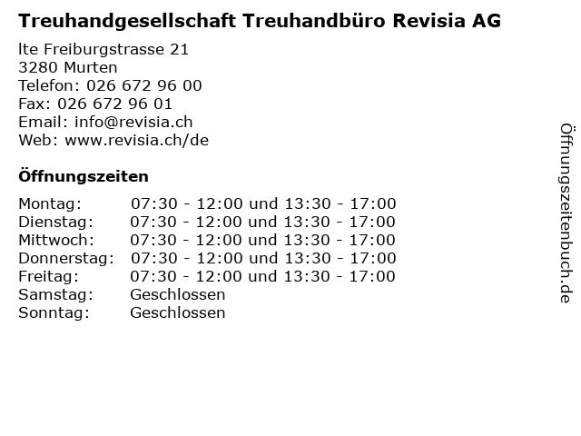 Treuhandgesellschaft Treuhandbüro Revisia AG in Murten: Adresse und Öffnungszeiten