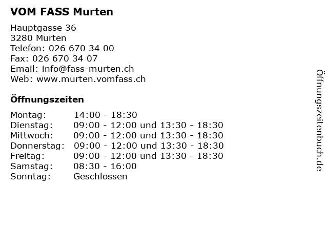 VOM FASS Murten in Murten: Adresse und Öffnungszeiten