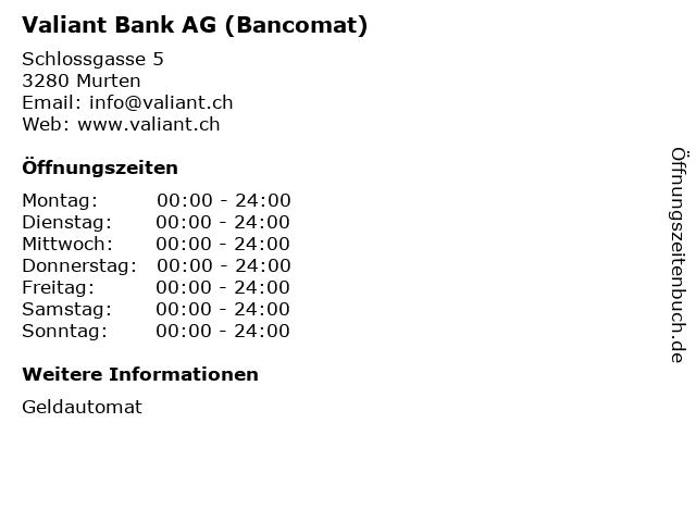 Valiant Bank AG (Bancomat) in Murten: Adresse und Öffnungszeiten