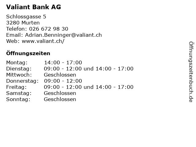 Valiant Bank AG in Murten: Adresse und Öffnungszeiten