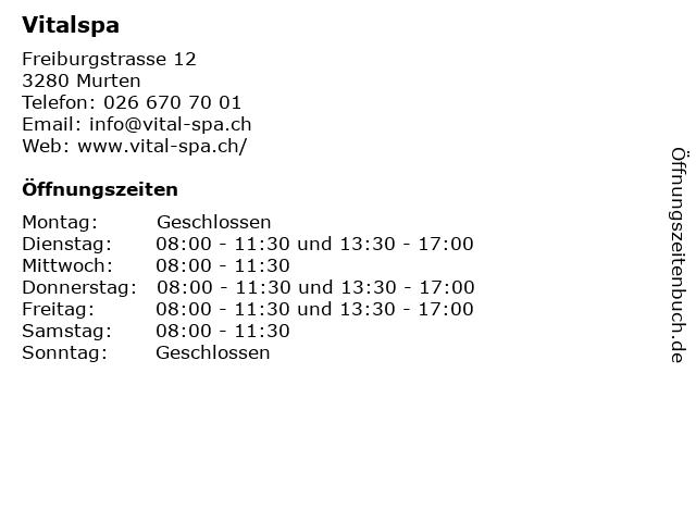 Vitalspa in Murten: Adresse und Öffnungszeiten