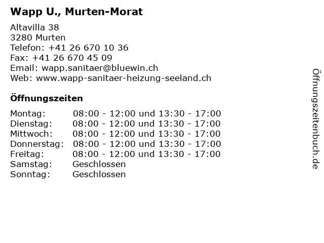 Wapp U., Murten-Morat in Murten: Adresse und Öffnungszeiten