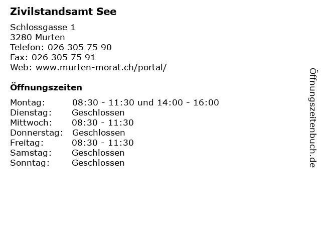 Zivilstandsamt See in Murten: Adresse und Öffnungszeiten