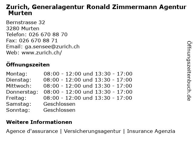 Zurich, Generalagentur Ronald Zimmermann Agentur Murten in Murten: Adresse und Öffnungszeiten