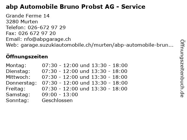 abp Automobile Bruno Probst AG - Service in Murten: Adresse und Öffnungszeiten
