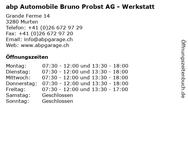 abp Automobile Bruno Probst AG - Werkstatt in Murten: Adresse und Öffnungszeiten