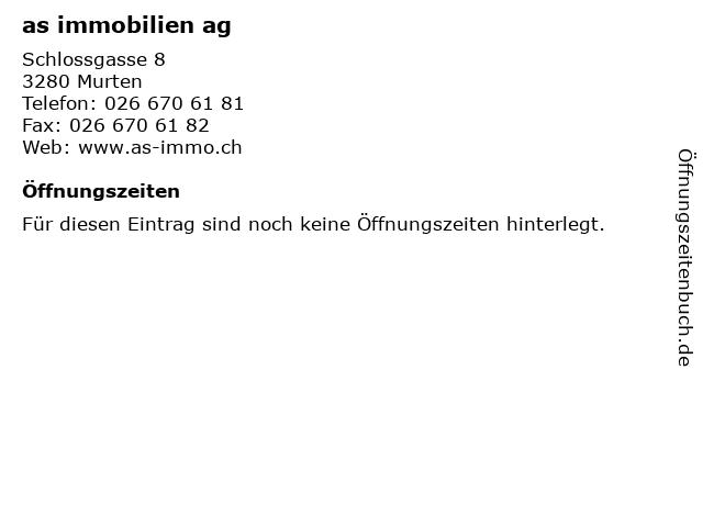 as immobilien ag in Murten: Adresse und Öffnungszeiten