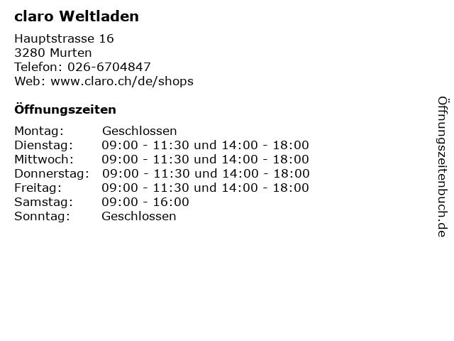 claro Weltladen in Murten: Adresse und Öffnungszeiten