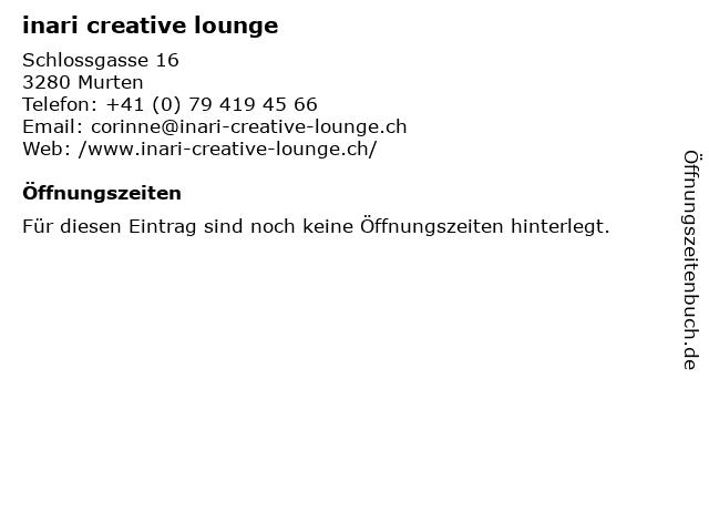 inari creative lounge in Murten: Adresse und Öffnungszeiten