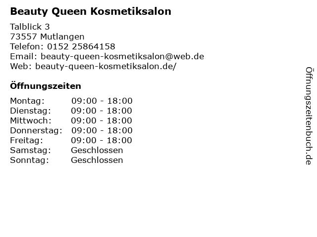 Beauty Queen Kosmetiksalon in Mutlangen: Adresse und Öffnungszeiten