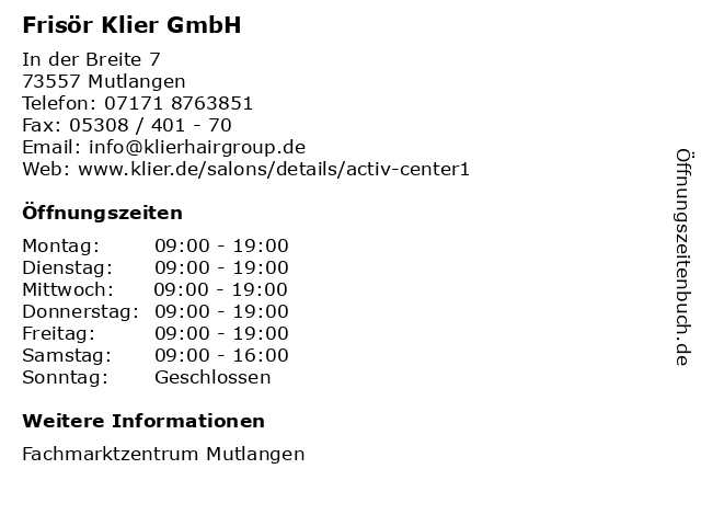 Frisör Klier GmbH in Mutlangen: Adresse und Öffnungszeiten