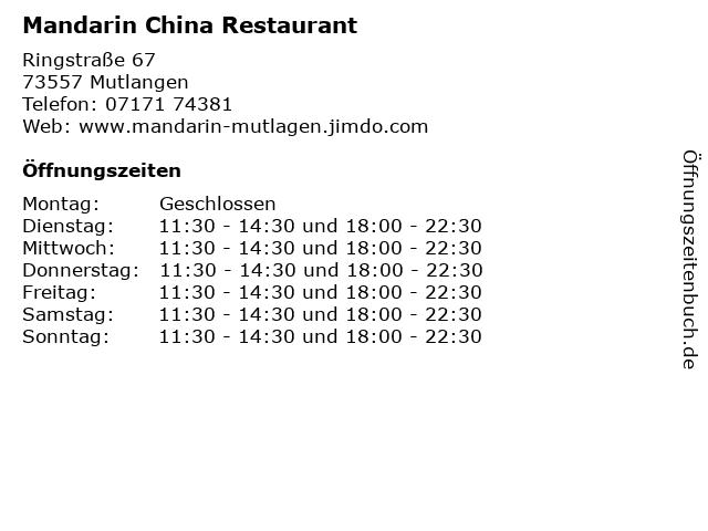 Mandarin China Restaurant in Mutlangen: Adresse und Öffnungszeiten