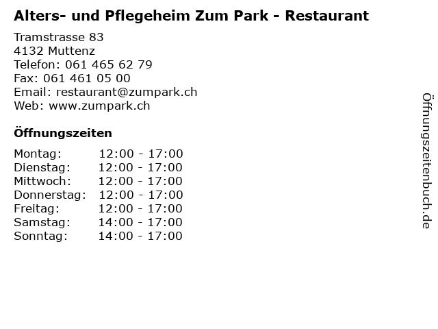 Alters- und Pflegeheim Zum Park - Restaurant in Muttenz: Adresse und Öffnungszeiten