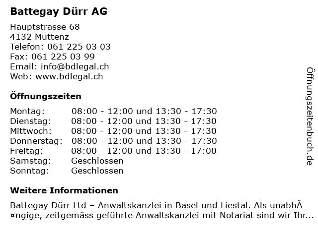 Battegay Dürr AG in Muttenz: Adresse und Öffnungszeiten