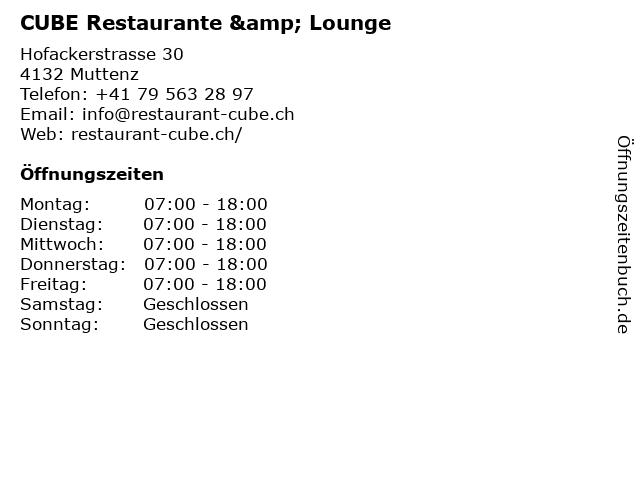 CUBE Restaurante & Lounge in Muttenz: Adresse und Öffnungszeiten