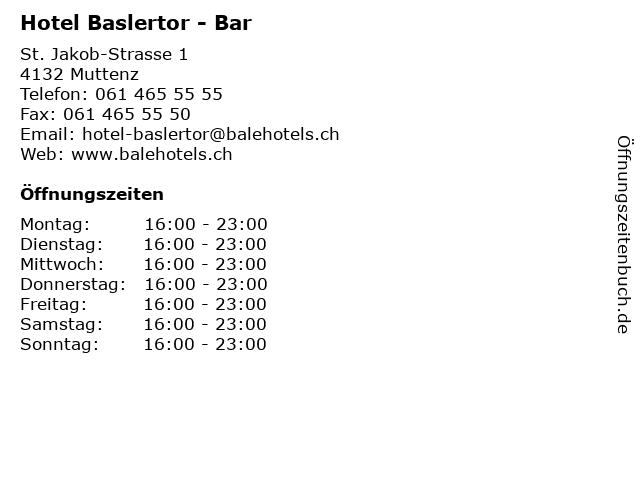 Hotel Baslertor - Bar in Muttenz: Adresse und Öffnungszeiten
