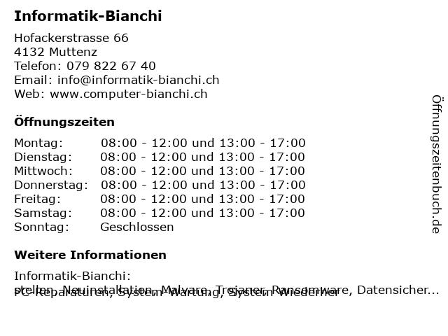 Informatik-Bianchi in Muttenz: Adresse und Öffnungszeiten