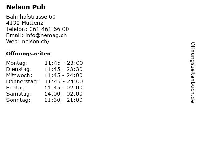 Nelson Pub in Muttenz: Adresse und Öffnungszeiten