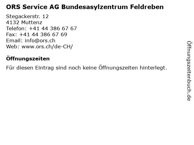 ORS Service AG Bundesasylzentrum Feldreben in Muttenz: Adresse und Öffnungszeiten
