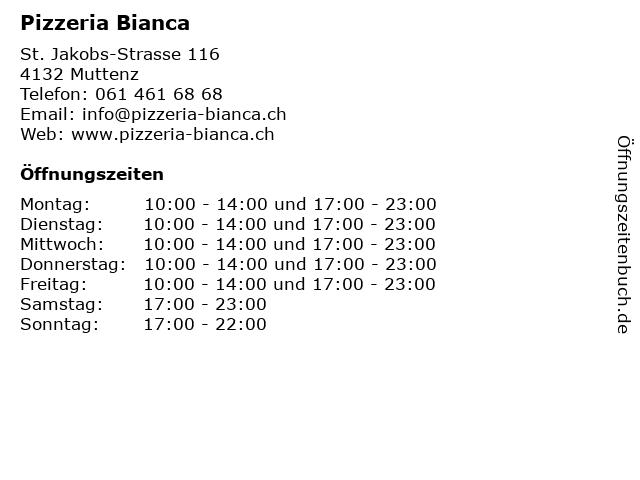 Pizzeria Bianca in Muttenz: Adresse und Öffnungszeiten