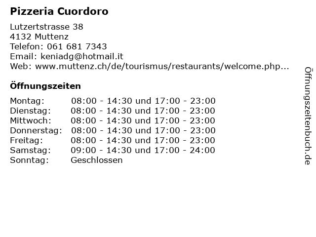 Pizzeria Cuordoro in Muttenz: Adresse und Öffnungszeiten