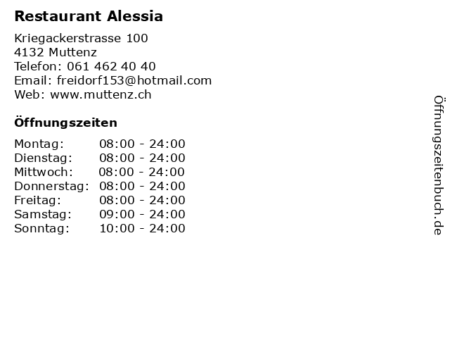 Restaurant Alessia in Muttenz: Adresse und Öffnungszeiten